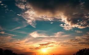 Sun, sky, landscape, clouds