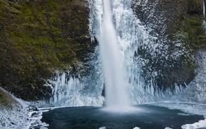 waterfall, frozen lake, lake