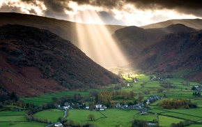 sun rays, trees, house, UK, nature, valley