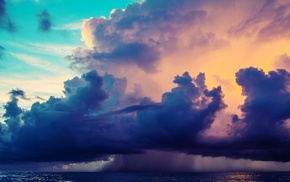 sky, clouds, colorful, water, sea, photography