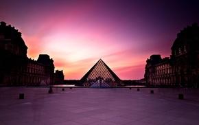 dusk, Paris, building, Louvre, architecture, photography