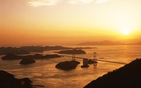 Sun, water, architecture, bridge, landscape, photography