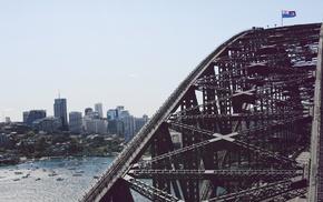 water, urban, cityscape, architecture, Australia, Sydney Harbour Bridge