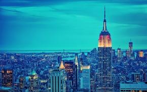New York City, building, skyscraper, lights, blue, Empire State Building