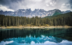 lake, reflection, pine trees, nature, landscape