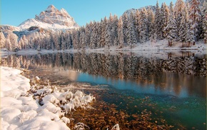 photography, reflection, nature, landscape, snow