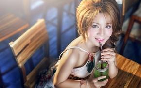 girl, drinking glass, model