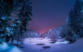 landscape, night, winter, snow, ice, nature