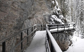 mountains, bridge, rock, canyon, johnson canyon, snow