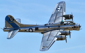 Bomber, airplane, aircraft, vehicle, Boeing B, 17 Flying Fortress