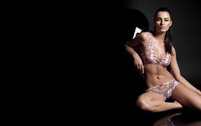 sitting, black, girl, lingerie, Catrinel Menghia, model