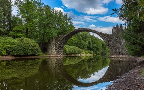 bridge, Stone Arch Bridge, clouds, water, river, photography