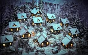 house, miniatures, snow, winter