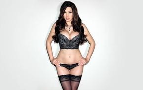model, beige background, lingerie, natural boobs, Jenna Jenovich, brunette