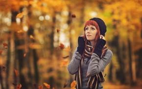 girl, leaves, model, girl outdoors