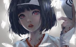 red eyes, Nora, Asian, anime, fantasy girl, girl