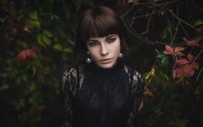 face, model, girl, leaves