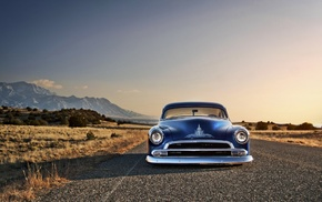 Chevy, desert, blue cars, Hot Rod, Chevrolet, car
