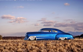 Chevrolet, blue cars, Hot Rod, desert, Chevy, car