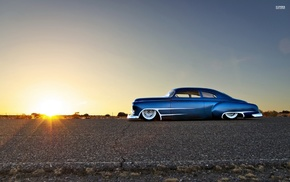 car, Chevy, blue cars, Chevrolet, desert, Hot Rod