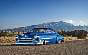 blue cars, desert, Hot Rod, Chevy, Chevrolet, car