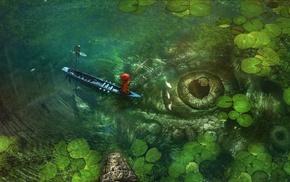 fishing, boat, lake, fisherman, fish, fantasy art