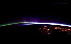 digital art, horizon, lights, render, space art, Earth