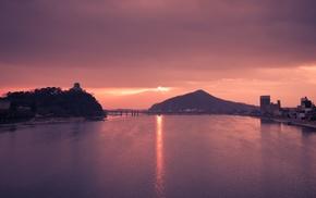 water, hills, architecture, bridge, river, photography
