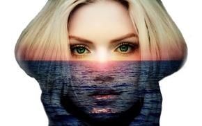 Spec Art, photo manipulation, face, Pacific Ocean, doubleexposure, sunset