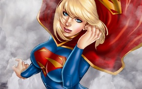 Supergirl, blonde, drawing, red