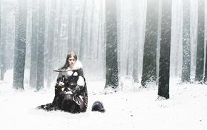 brunette, warrior, model, wood, winter