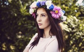 wreaths, model, girl, flowers