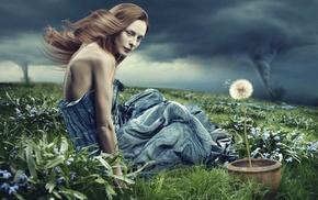 girl, flowers, model, tornado