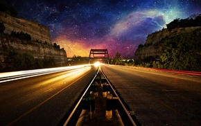 evening, lights, road, space, long exposure, photo manipulation
