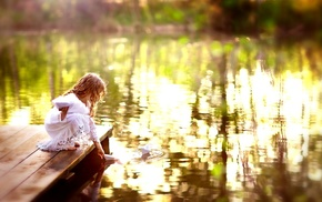 lake, children, depth of field, photography