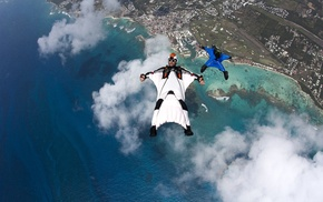 skydiving, clouds, sky, photography, wingsuit
