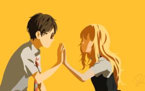 Miyazono Kaori, Arima Kousei, vector, Shigatsu wa Kimi no Uso