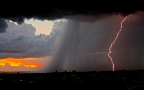 lightning, nature, rain