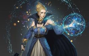 magician, girl, fantasy art