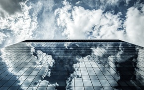 photography, clouds, building, sky, architecture, reflection