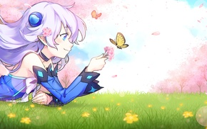 Elsword, anime girls, butterfly, white hair, pointed ears, grass