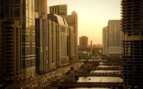 urban, Chicago, bridge, river, cityscape, photography