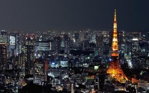 Tokyo Tower, cityscape, Japan, city, night, urban