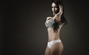 simple background, girl, bra, portrait, model, tattoo