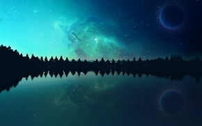 evening, photo manipulation, space, lake, planet, nebula