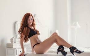 panties, model, black lingerie, redhead, high heels, bra