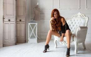model, girl, Mia Sollis, chair, high heels