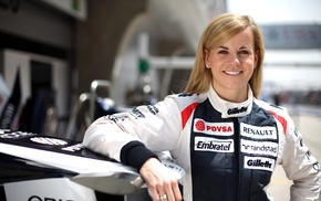 Driver, girl, Renault, smiling, blonde, Susie Wolff