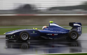 race tracks, car, rain, GP3, motion blur