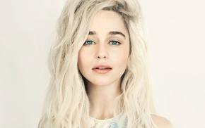 face, blue eyes, wavy hair, girl, long hair, simple background